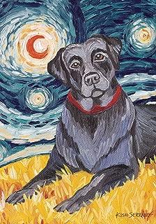 Toland Home Garden Van Growl Black Lab 28 x 40 Inch Decorative Puppy Dog Portrait Starry Night House Flag