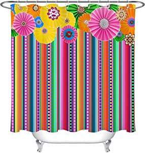 Rrfwq Ethnic Floral Mexican Carnival Fiesta Stripes Bathroom Shower Curtain Set 72X72IN
