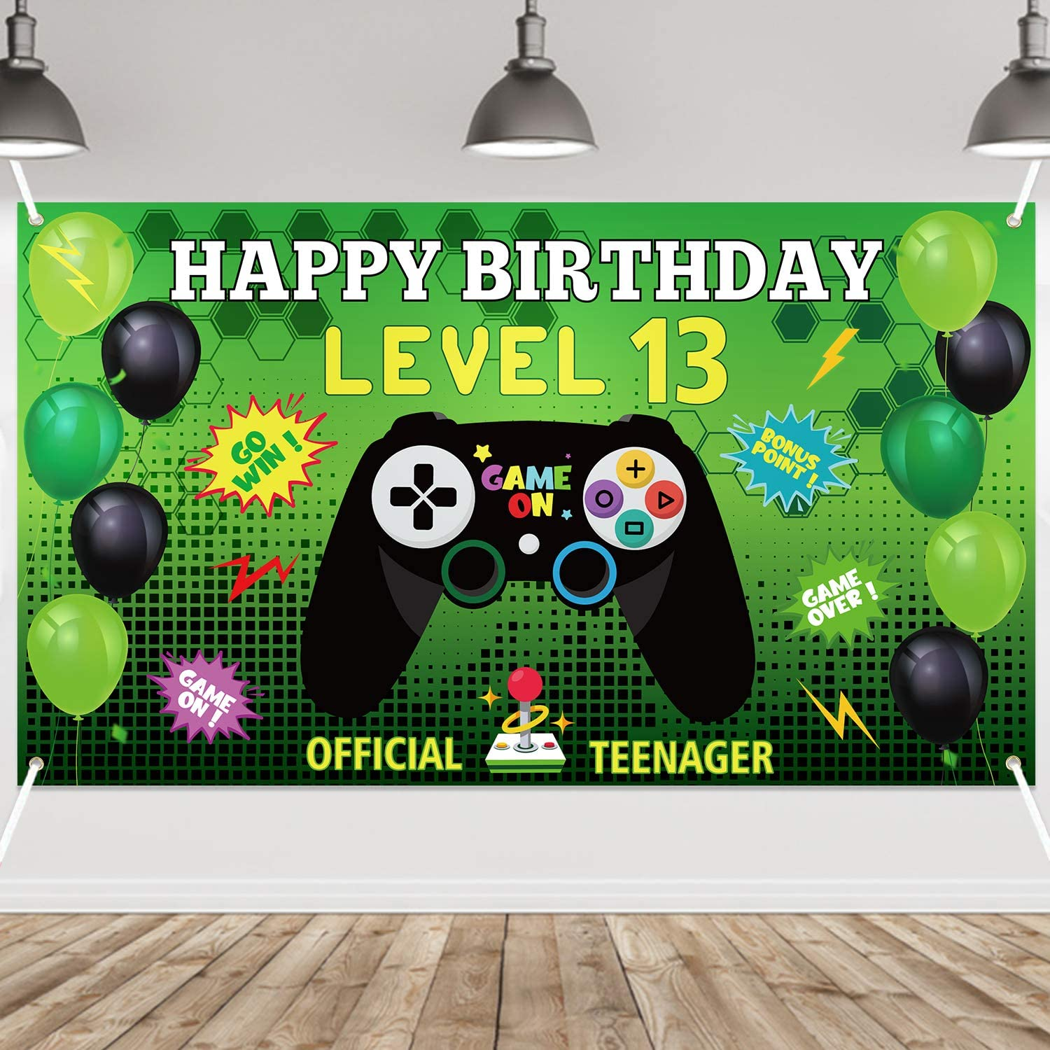 PANTIDE Max 62% OFF Level 13 Video Game Leve Import Happy Banner- Birthday Backdrop