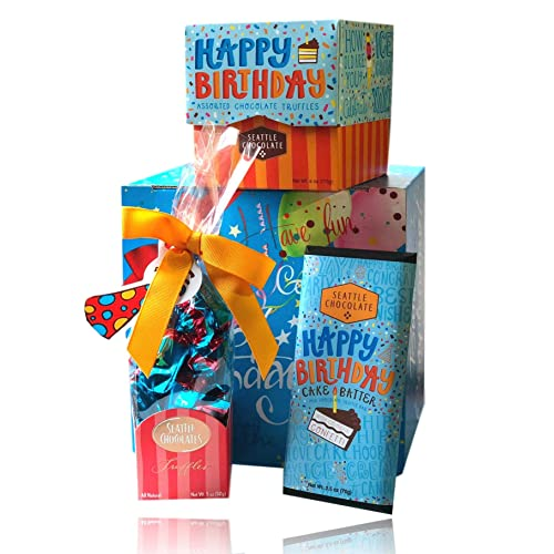 Happy Birthday Chocolate Set By Seattle Chocolates Premium Quality All Natural Non GMO
