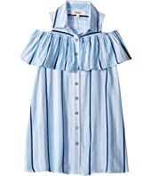 Front Button Shirtdress with Cold Shoulder (Big Kids)