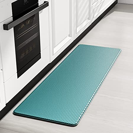 Amazon Com Color Geometry Kitchen Rug Cushioned Anti Fatigue Kitchen Mat Non Skid Waterproof Kitchen Mat For Floor 59 X18 Cyan Kitchen Dining