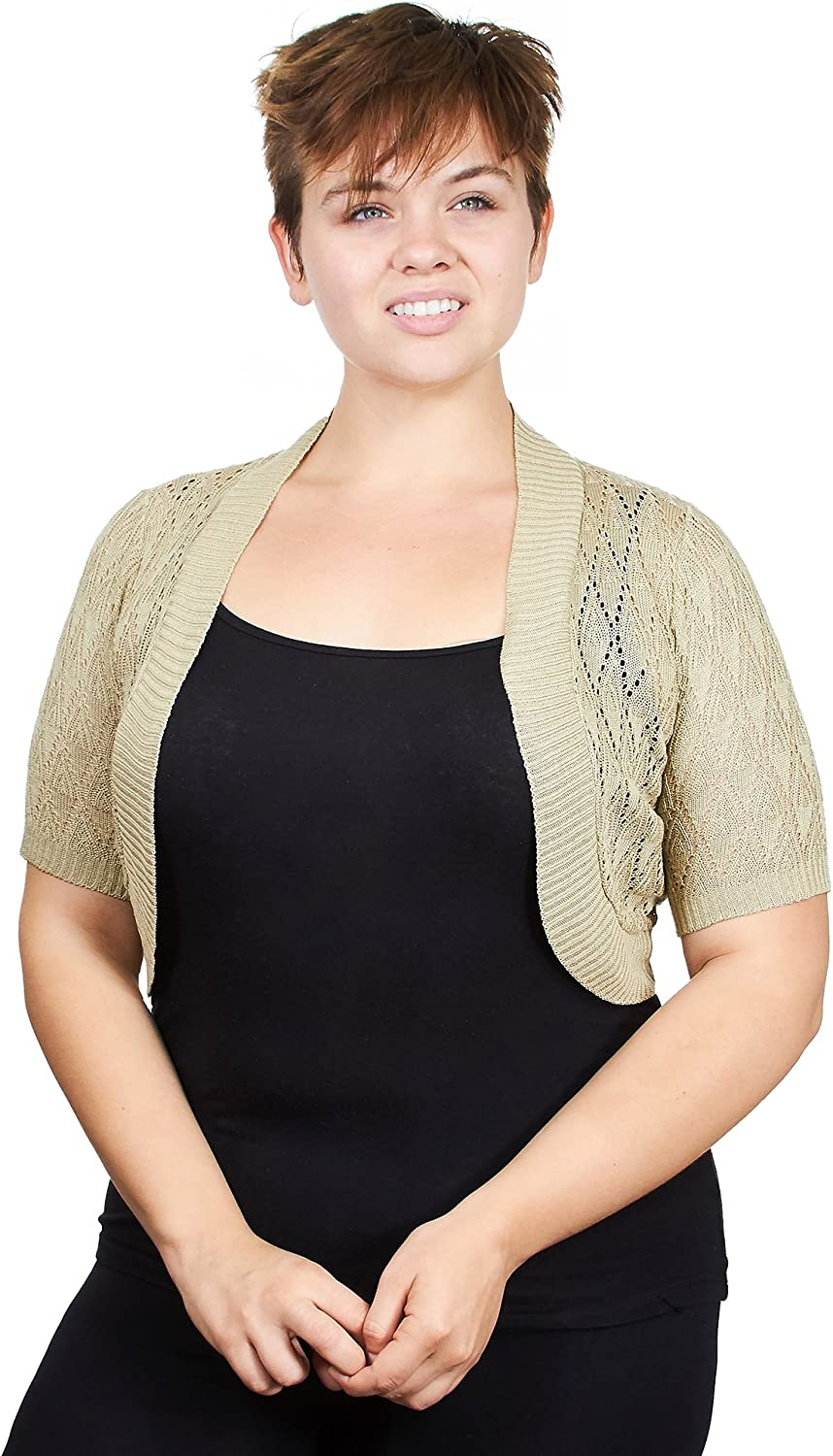 Knit Minded Plus Size Womens Ladies Plus Size Diamond Knit Pattern Topper Open Front Cardigan (See More Colors and Sizes)