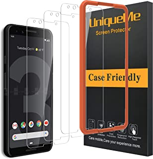 [3 Pack] UniqueMe Compatible with Google Pixel 3 Screen Protector,[Alignment Frame Easy Installation] HD Clear Tempered Glass Anti-Scratch