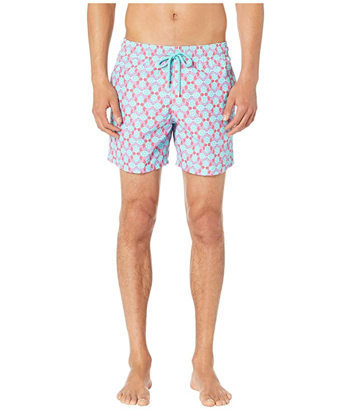 Vilebrequin Moorea Data Turtles Swim Trunks (Cherry Blossom) Men
