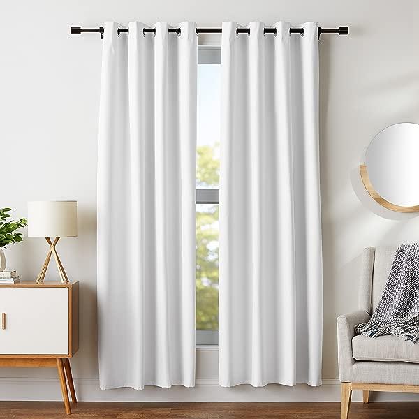 AmazonBasics Room Darkening Blackout Window Curtains With Grommets Set 52 X 84 White