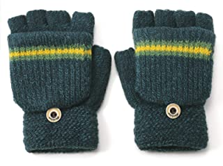 Flammi Boys' Knit Fingerless Gloves with Mitten Flap Convertible Mittens