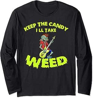 Electric Guitar Halloween Rock Spooky Zombie Creepy Gift Long Sleeve T-Shirt