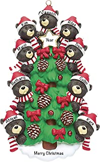 Best Personalized Christmas Ornaments 2021 – Personalized Black Bear Tree Family of 9 Ornament for Parents, Kids, Grandparents – Polyresin Christmas Tree Decoration – Durable 2021 Family Ornament Review