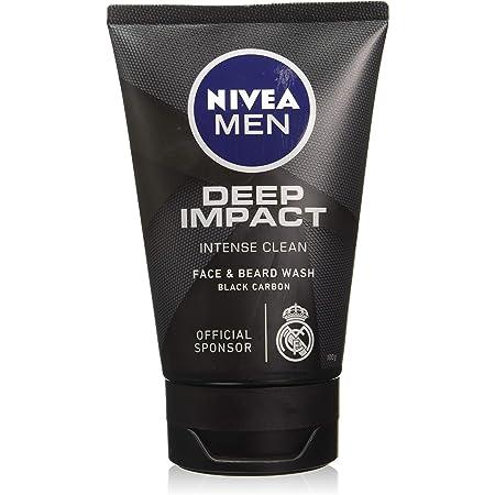 NIVEA Men Face Wash, Deep Impact Intense Clean, for Beard & Face, with Black Carbon, 100 g