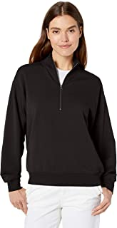 Amazon Brand - Terry Cotton & Modal Quarter-Zip Sweatshirt and Crop Jogger Set