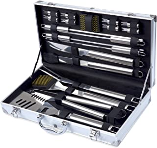 Kacebela Grilling Accessories with Storage Case, Grill BBQ Tools for Outdoor Barbecue Grilling (Stainless Steel,19-Piece)