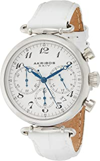 Women's Chronograph Watch - 3 Subdials Feature Seconds, Minutes and GMT On Embossed Alligator Pattern Leather Strap - AK630