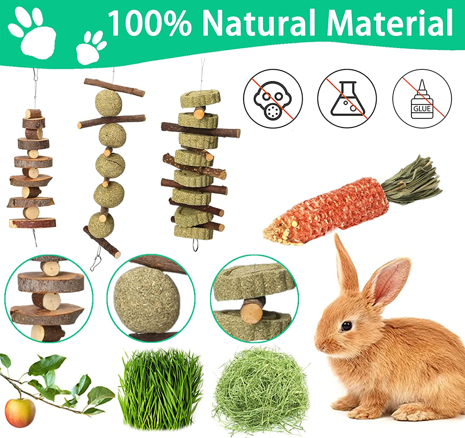 Buy Rabbit Toys,Bunny Chew Toys Guinea Pig Toys 20 Natural ...
