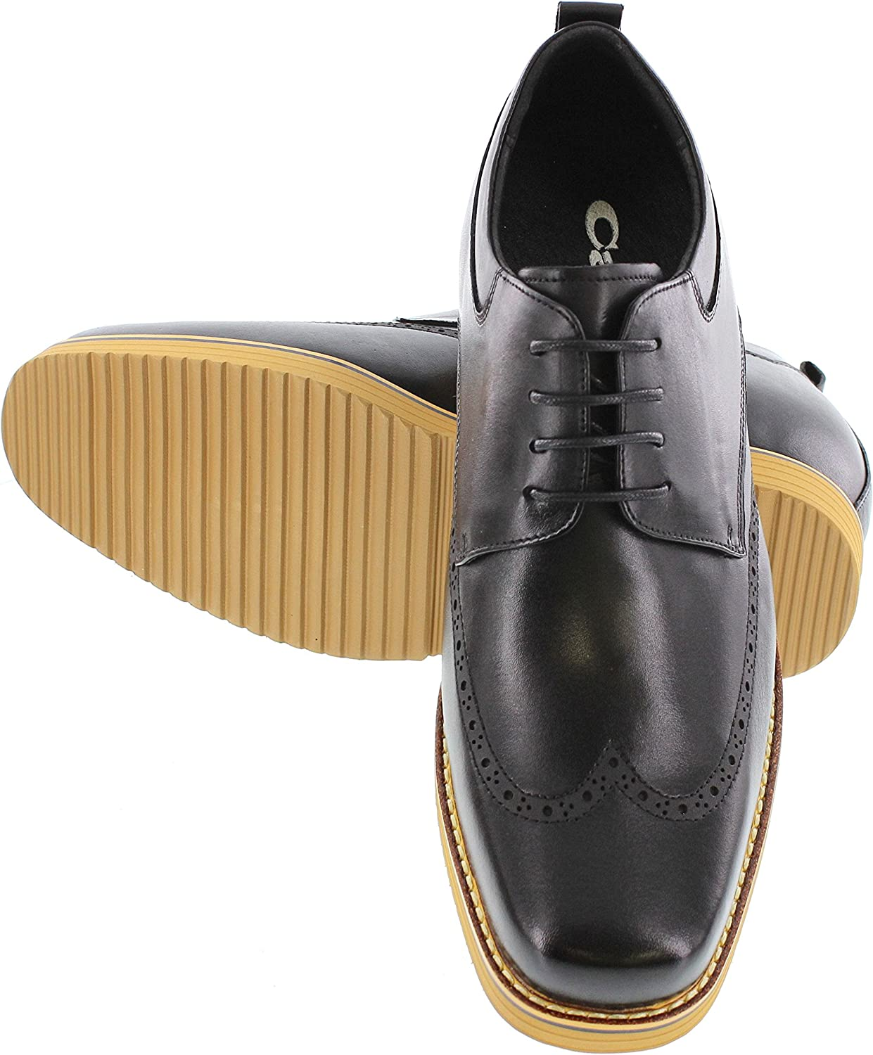 CALTO Men's Invisible Height Increasing Elevator Shoes - Black Premium Leather Wing-tip Lace-up Casual Oxfords - 3.2 Inches Taller - T1433