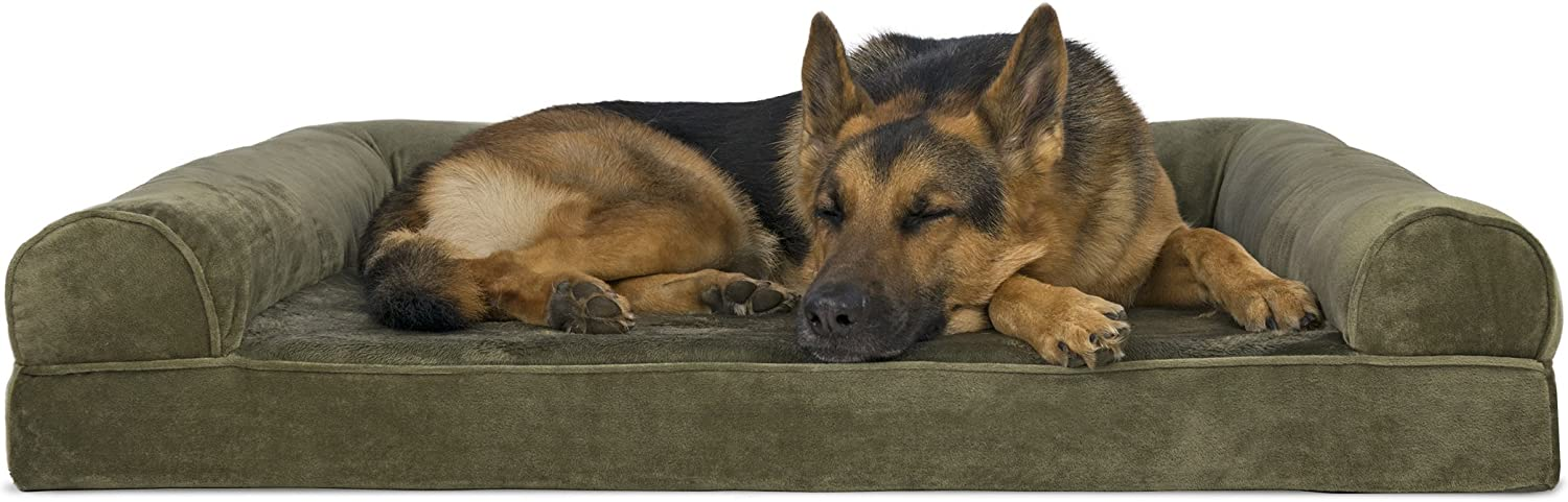 FurHaven Memory Foam Faux Fur & Velvet Dog Couch Sofa Bed for Dogs and Cats, Dark Sage, Jumbo