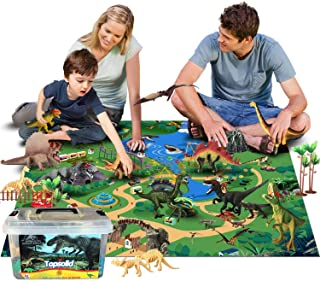 Dinosaur Toys Figures with Large Flannel Activity Play Mat 39.4 x 28 Inch, 30Pcs Realistic Dinosaur Playset Include T-Rex,...