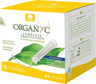 Organyc 100% Certified Organic Cotton Tampons, Normal Flow, with Compact Plant-Based Eco-Applicator, 16Count