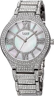 Burgi Womens Quartz Watch, Analog Display and Stainless Steel Strap BUR185SS
