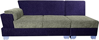 Three+ Purple Sal Wood 6 Seater L-Shaped Sofa Set for Living Room