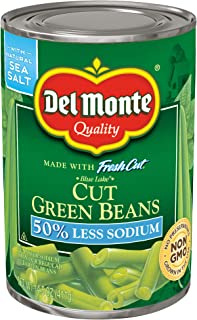 Del Monte Canned Fresh Cut Blue Lake Low Sodium Cut Green Beans, 14.5-Ounce (Pack of 12)