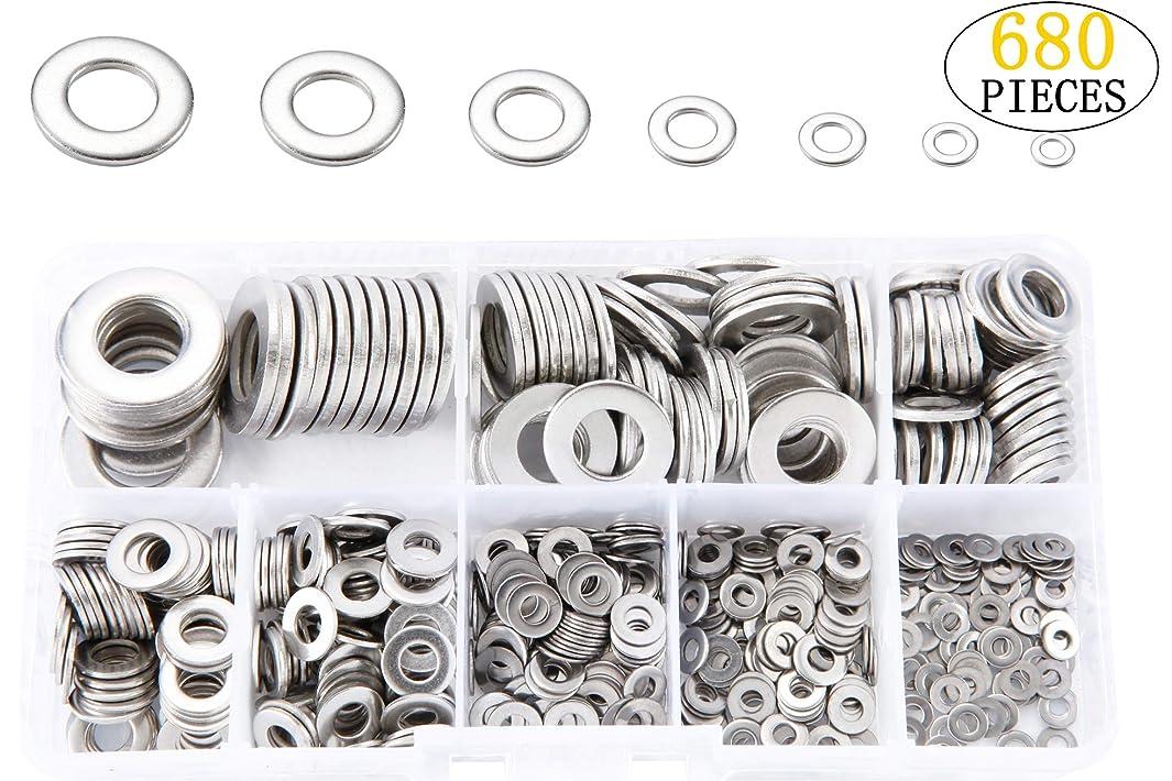Handshop 304 Stainless Steel Flat washers Set(M2 M2.5 M3 M4 M5 M6 M8 M10)-8 Sizes,680 pcs