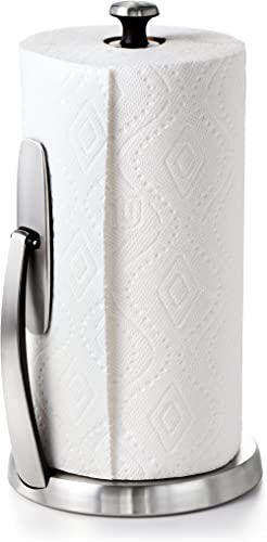 OXO OXO Good Grips SimplyTear Standing Paper Towel Holder, Brushed Stainless Steel, 1066736, Steel, Stainless, 1 Pack