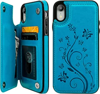 """Vaburs iPhone Xr Case Wallet with Card Holder, Embossed Butterfly Premium PU Leather Double Magnetic Buttons Flip Shockproof Protective Case Cover for iPhone Xr (6.1"""", Blue)"""