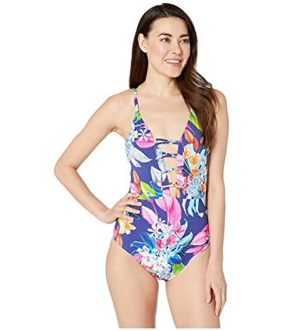 La Blanca Hyper Tropical Plunge Mio One-Piece Swimsuit (Blueberry) Women