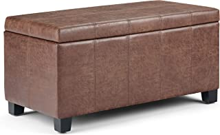 Simpli Home AXCOT-223-DUB Dover 36 inch Wide Contemporary Rectangle Storage Ottoman Bench in Distressed Umber Brown Faux Air Leather