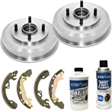 Detroit Axle - Pair (2) Rear Brake Drums w/Ceramic Brake Shoes w/Hardware & Brake Cleaner & Fluid for 2000 2001 2002 2003 2004 2005 2006 2007 2008 Ford Focus