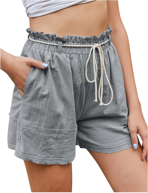 HYWJSZ Shorts Women Summer Shorts Loose Casual Sports Cotton Breathable Linen Drawstring SweatShorts