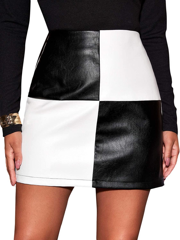 WDIRARA Women's Two Tone PU Leather High Waist Casual Colorblock Mini Skirt
