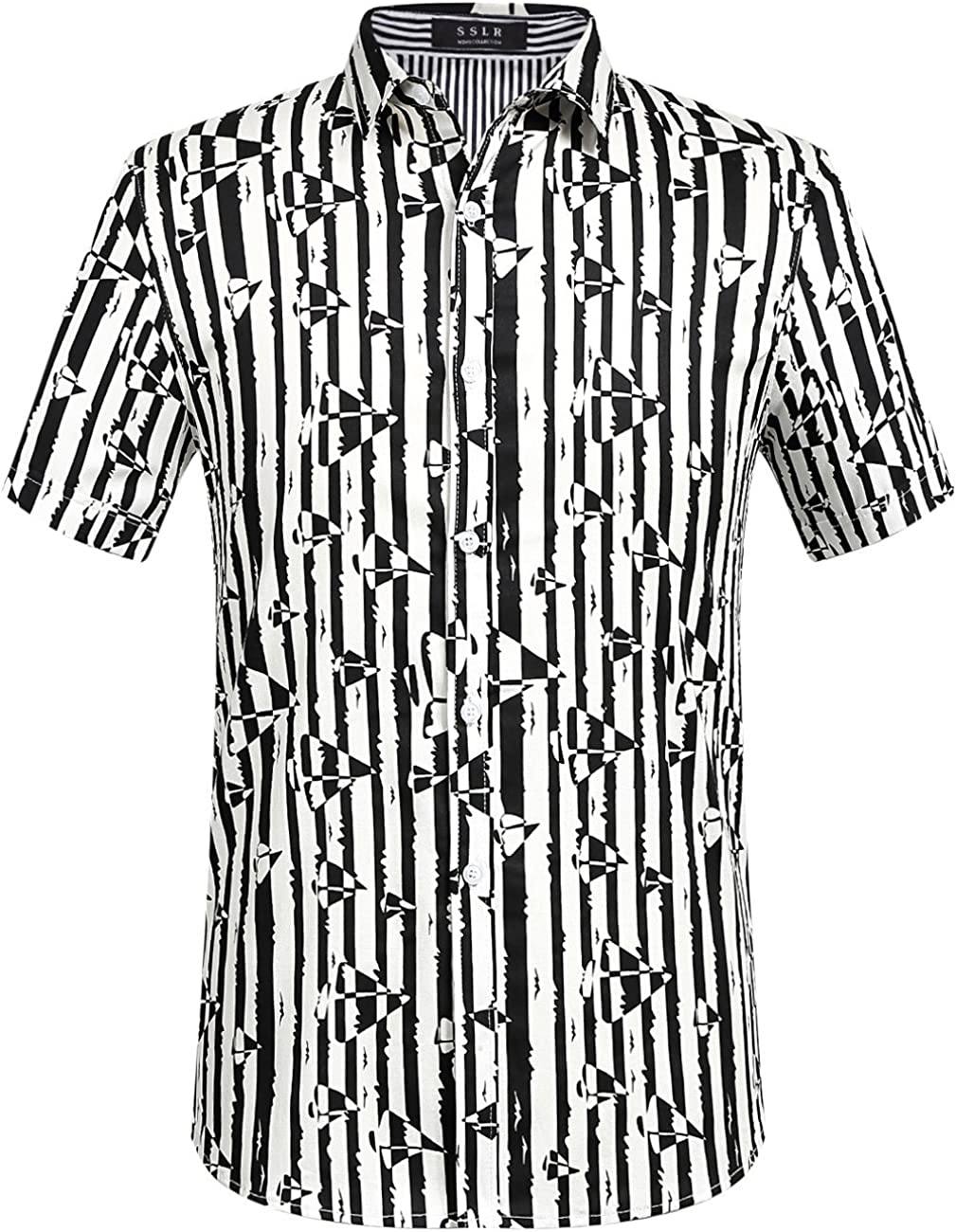 SSLR Mens Short Sleeve Shirts Button Down Casual Aloha Hawaiian Shirts for Men