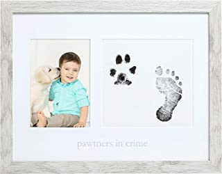 Kate & Milo Rustic Pawtners in Crime Picture Frame and Babys Handprint or Footprint and Pet Pawprint Ink Kit