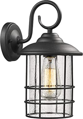 Emliviar 1-Light Outdoor Wall Sconce, Outside Porch Light in Black Finish with Clear Seeded Glass, 1803CW2