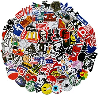 100Pack Logo Brand Stickers Set Random Sticker Decals for Water Bottle Laptop Cellphone Bicycle Motorcycle Car Bumper Luggage Travel Case. Etc (Logo)