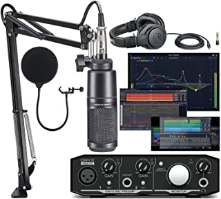 Mackie Onyx Artist 1-2 Audio Interface With Pro Tools First/Tracktion Music Production Software with Audio-Technica AT2020 Vocal Microphone Arm Kit for Studio Recording/Streaming/Podcasting