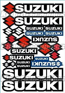 Kungfu Graphics Suzuki Sponsor Logo Racing Sticker Sheet Universal (7.2 x 10.2 inch), White Black