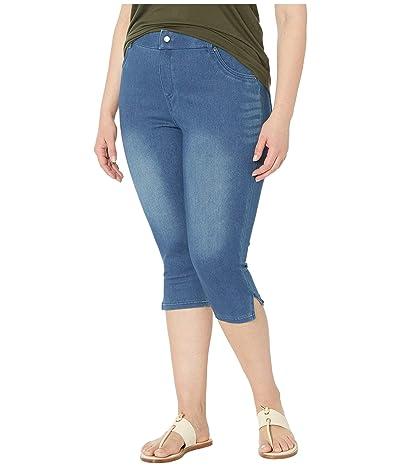 HUE Plus Size Ultra Soft Denim High-Waist Short Capris (Windsor Blue) Women