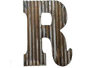 Farmhouse Rustic 24'' Wall Decor Corrugated Metal Letter R