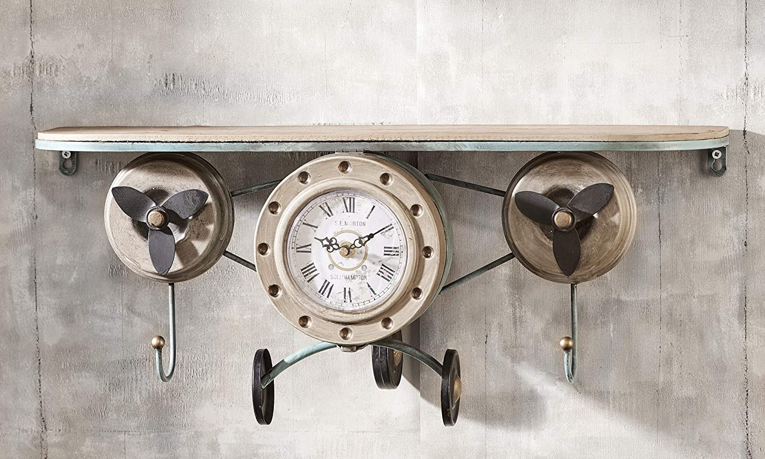 Gift Craft Vintage Airplane Antique gold Tone 23 x 10 Iron and Wood Wall Art Clock Shelf