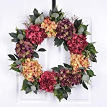 POETIC WREATH F5 Large 21 inch Purple Red Yellow Hydrangea Grapevine Wreath.Year Round Wreath.Spring Wreath.Summer Wreath.Front Door Wreath.Festival Wreath.Gifts Handmade Wreath.Rustic Wreath