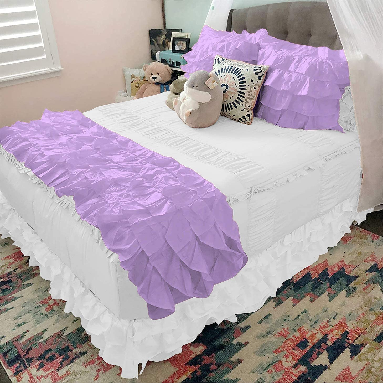 Bedding Castle 800 Thread At the price of surprise Count Ruffle Pieces Dedication Runner 5 Bed with