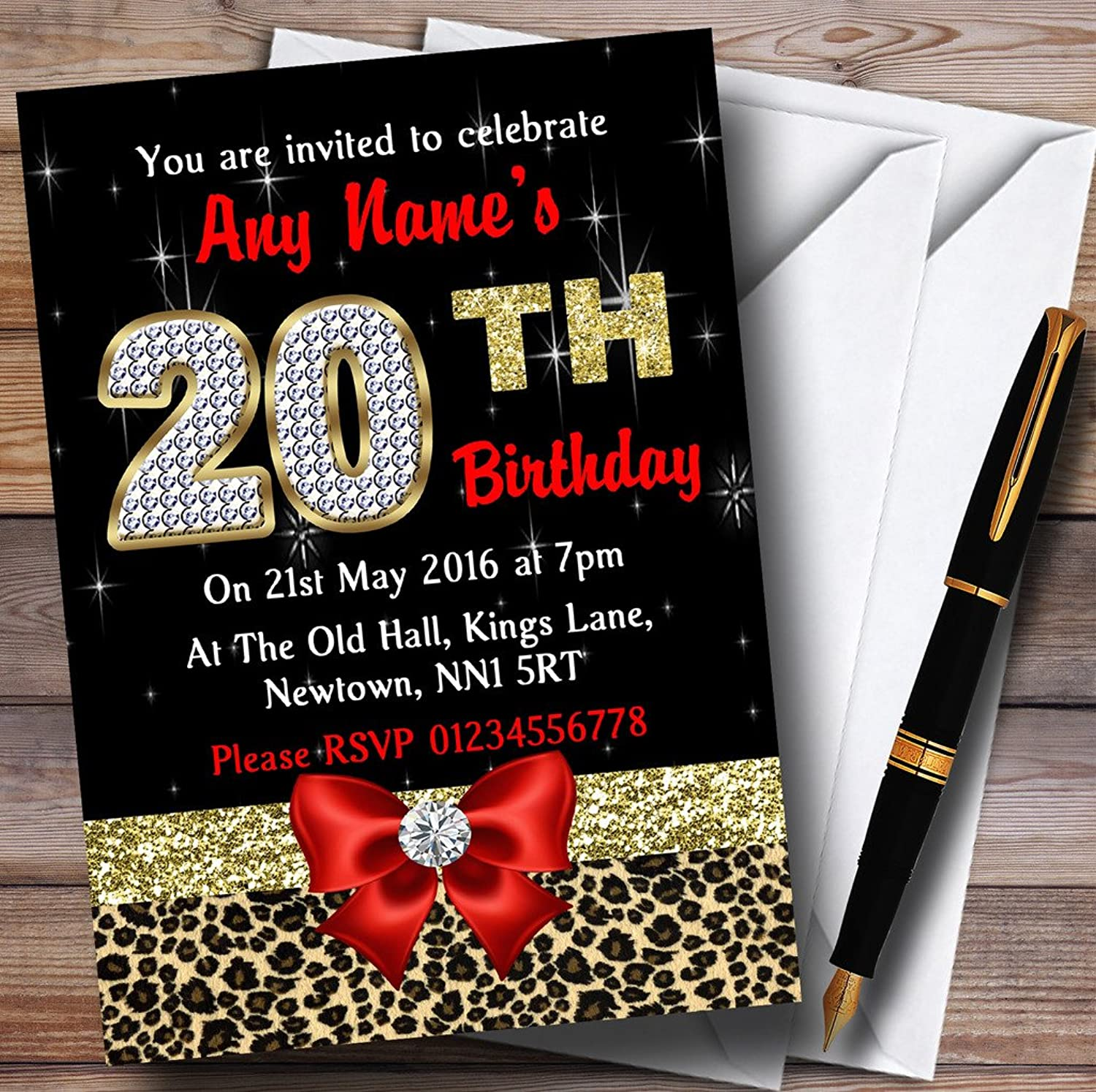 Red Diamond And Leopard Print 20Th Birthday Party Personalised Invitations   Invites & Envelopes