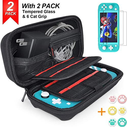Hestia Goods Carrying Case for Nintendo Switch Lite with 2 Pack Screen Protector & 6 Pcs Thumb Grip, 20 Game Cartridg...