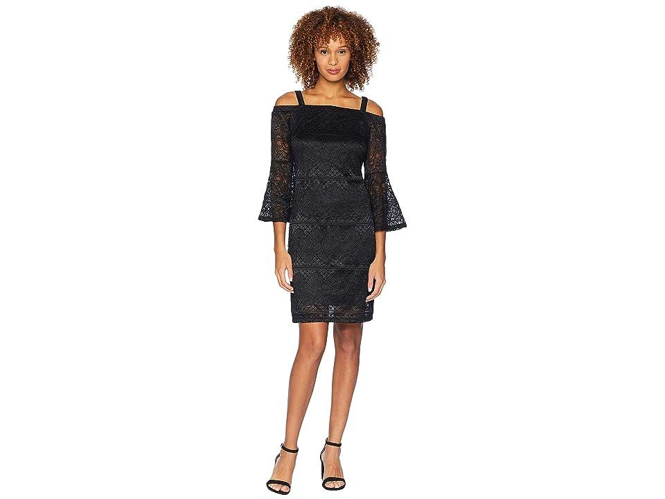 Tribal Open Shoulder Detachable Strap Dress (Black) Women