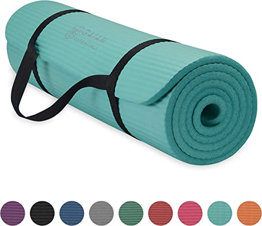 Gaiam Essentials Thick Yoga Mat Fitness & Exercise Mat with Easy-Cinch Yoga Mat Carrier Strap, 72″L x 24″W x 2/5 Inch Thick