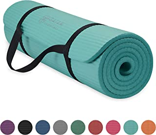 Gaiam Essentials Thick Yoga Mat Fitness & Exercise Mat with Easy-Cinch Yoga Mat..