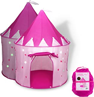 FoxPrint Princess Castle Play Tent with Glow in The Dark Stars, Conveniently Folds in to..